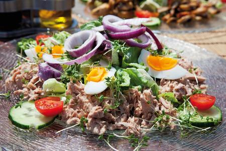 tuna salad: Close up of tuna salad on glass plate