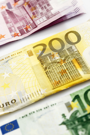 one hundred euro banknote: Various Euro bank notes in a row