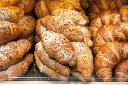 Germany,Close up of different croissants in showcase