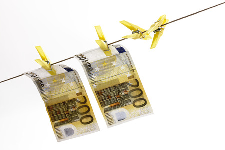 laundry line: 200 Euro bank notes hanging on clothesline