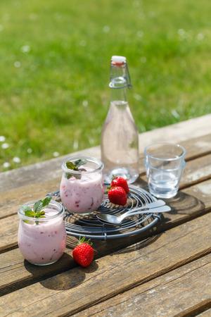 picknick: Picknick mit Erdbeerjoghurt und Limonade