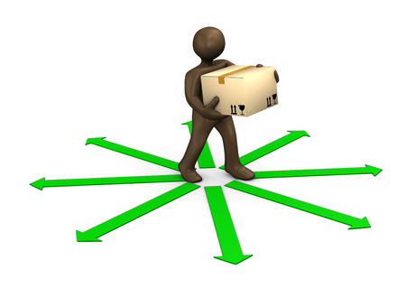 green arrows: 3D Illustration, Brown figurine, parcel deliveryman and green arrows Stock Photo