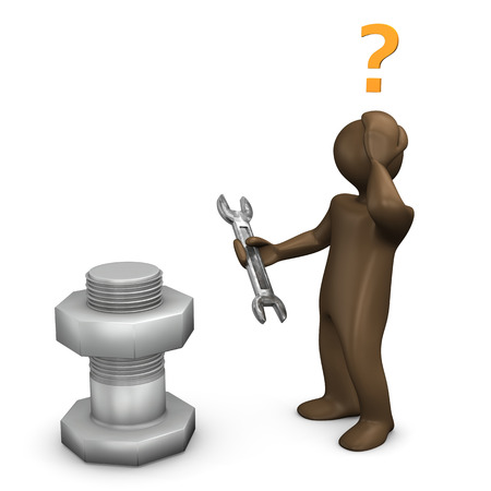 figurine: 3D Illustration, Brown figurine, wrong tool