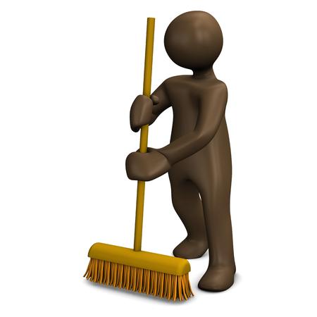 housekeeper: Housekeeper sweeping with broom