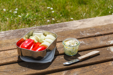 crudite: Picnic, Dip and crudites, paprika and kohlrabi