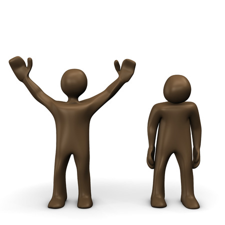 looser: Winner and looser, brown figurines, white background Stock Photo