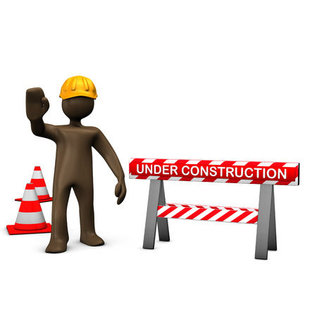 figurine: Brown figurine, construction worker, under construction Stock Photo