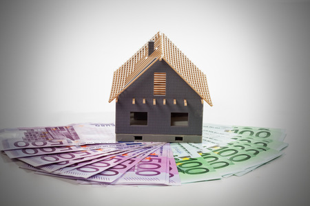 fanned: Model house on fanned euro notes