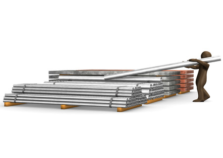 steel pipe: 3D Illustration, Brown figurine with steel pipe Stock Photo