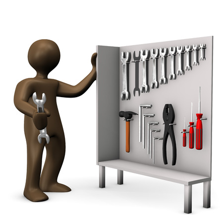 figurine: Tool cabinet, brown figurine with wrench