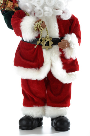 pere noel: Father Christmas holding golden rope
