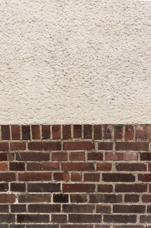 clinker: Outside wall with plastered top on red clinker brick bottom Stock Photo