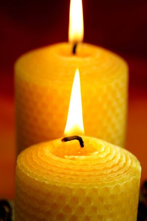 beeswax candle: Burning bees wax candles