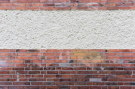 clinker: Outside wall with plastered area between red clinker brick, texture background Stock Photo