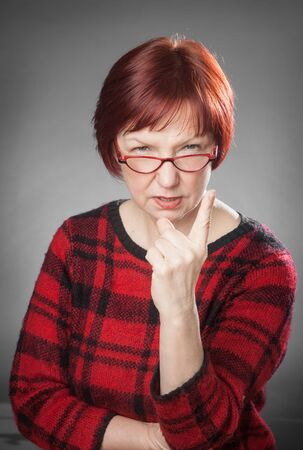 wag: Red-haired woman, Portrait, Facial expression, wag a finger