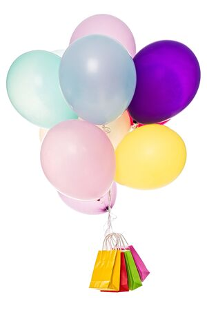 consuming: Colorful balloons, bags, shopping Stock Photo