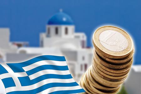 depts: Grexit, Euro coins, flag, Greece, Santorini