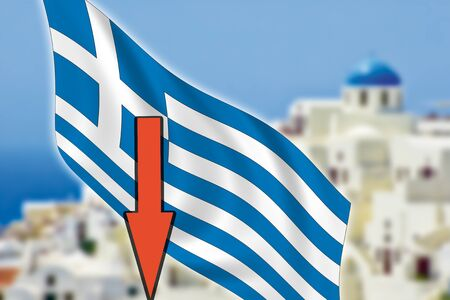 Greece, Santorini, grexit, arrow, flag
