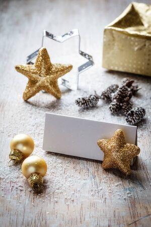 bodegones: Bodeg�n de Navidad en la madera, tarjeta del lugar, copia espacio