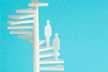 male likeness: Figurines on spiral stair