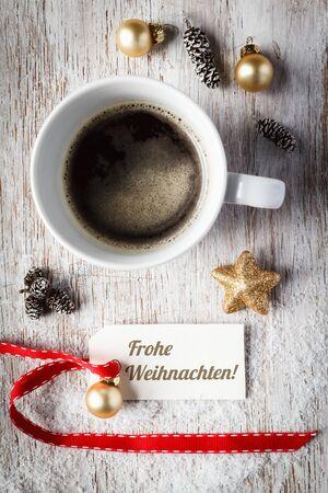bodegones: Bodeg�n de Navidad, taza de caf�, la etiqueta