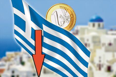 depts: Greece, Santorini, grexit, Euro coin, flag Stock Photo