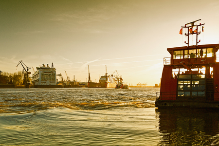 incidental people: Germany, Hamburg, River Elbe and the shipyard with cruise ships