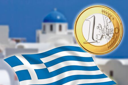 depts: Grexit, Euro coins, flag, Greece, Santorini