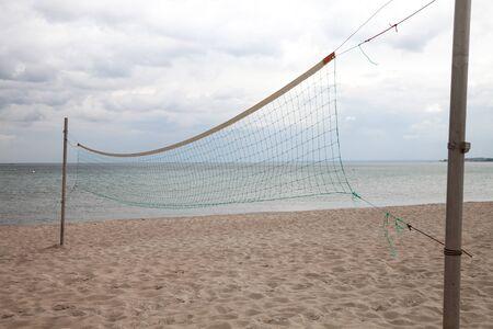 volleyball net: Germany, Schleswig-Holstein, Baltic Sea, volleyball net on beach