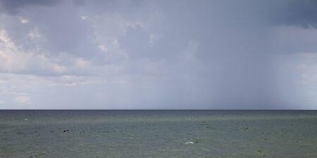 rain cloud: Germany, Schleswig-Holstein, Baltic Sea, rain cloud, Panorama Stock Photo