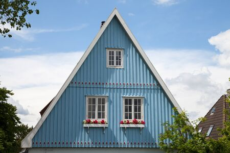 gables: Germany, Schleswig-Holstein, House, blue facade, gable