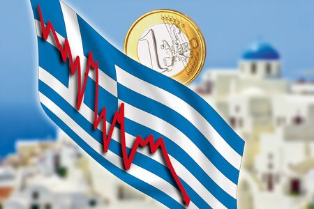 Greece, Santorini, grexit, Euro coin, flag Stock Photo