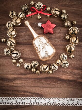 cellos: Christmas, bells on wood, christmas decoration, cello and star Stock Photo