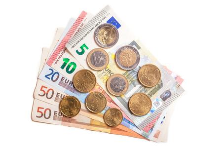 bolsa dinero: 143 euros, dinero de bolsillo para el solicitante de asilo Foto de archivo