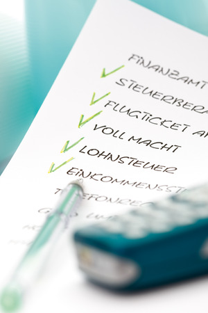 mnemonic: To Do List, ballpen and mobile phone, close-up Stock Photo