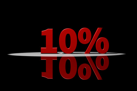semaforo rojo: 10 por ciento, texto rojo, representación 3D con la reflexión