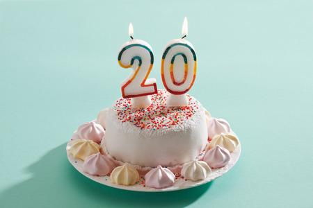 fondant fancy: Birthday cake with burning candles Stock Photo