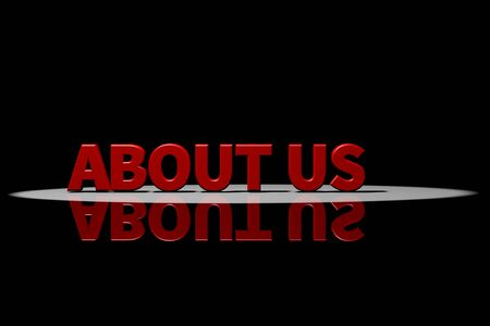 text 3d: Text about us, red text, 3D Rendering with reflection