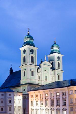 linz: Austria,Linz,Old Cathedral with Trinity Column