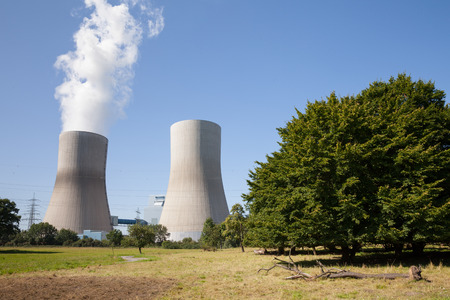 rwe: Germany, North Rhine-Westphalia, Hamm, Hard coal-fired power station, Cooling tower, trees Stock Photo