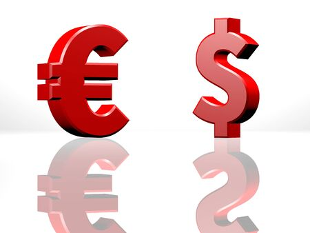 opposing: Dollar and Euro currency sign, opposing each other, exchange or trading business concept. 3D CGI Rendering on white reflecting surface.