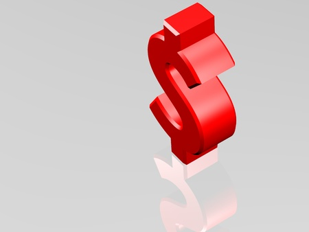 cgi: Dollar currency sign. View from top. 3D CGI Rendering on white reflecting surface. Stock Photo