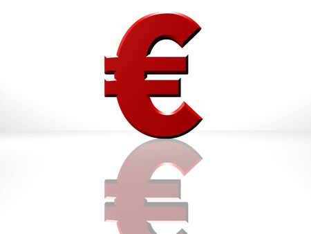 cgi: Euro currency sign. 3D CGI Rendering on white reflecting surface.