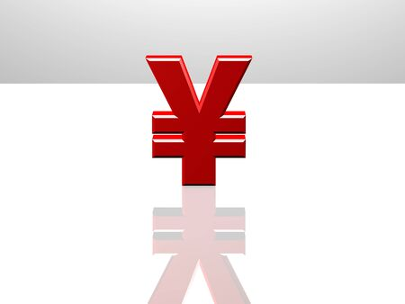 cgi: Japanese Yen currency sign. 3D CGI Rendering on white reflecting surface.