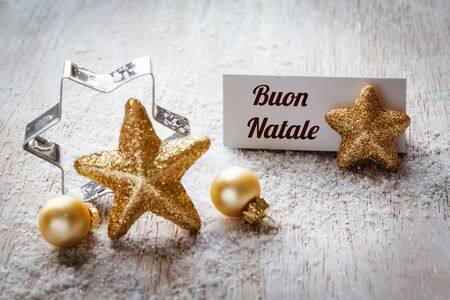 still lifes: Christmas time, Still life with italian wishes, sign, on wood