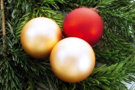fir twig: Christmas baubles on fir twig