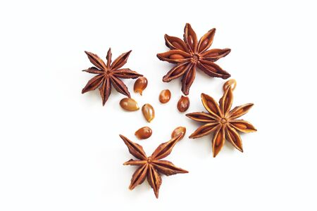 Four star anise isolated on white background