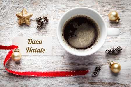 christmas time: Christmas time, festive still life, cup of coffee, italian, sign on wood Stock Photo