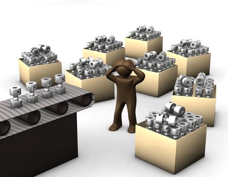 3D illustratie, Brown beeldje, overweldigd arbeider op productielijn Stockfoto
