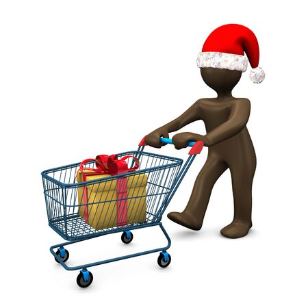 consuming: 3D Illustration, Brown figurine with christmas hat, shopping, present